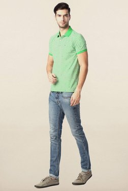 Peter England Green Striped Polo T-Shirt