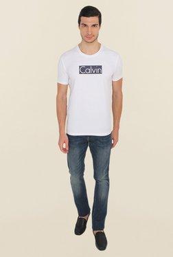 Calvin Klein White Solid T-Shirt