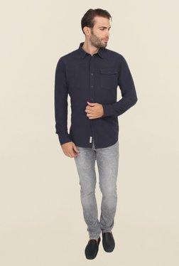 Calvin Klein Navy Solid Casual Shirt