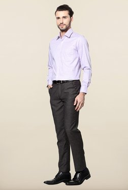 Peter England Lilac Checks Slim Fit Formal Shirt