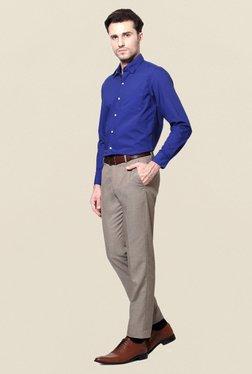 Peter England Royal Blue Solid Slim Fit-Shirt
