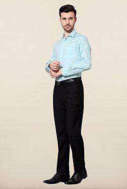 Peter England Blue Polka Dot Print Cotton Formal Shirt