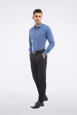 Peter England Blue Checks Slim Fit Casual Shirt - Mp000000000115577