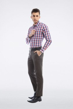 Peter England Blue & Red Checks Slim Fit Casual Shirt