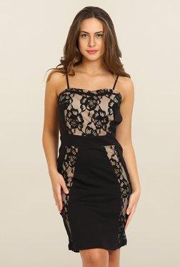 Avirate Black Floral Print Bodycon Dress