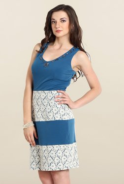 Avirate Blue Lace Bodycon Dress