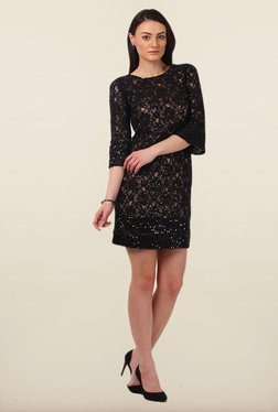 Avirate Black Embellished Boat Neck Shift Dress