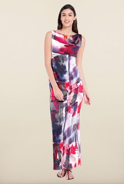 Avirate Multicolor Printed Boat Neck Maxi Dress