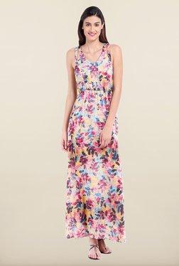 Avirate Multicolor Printed V Neck Maxi Dress