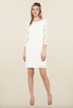 Avirate White Lace Boat Neck Shift Dress