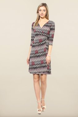 Avirate Grey Aztec Print Wrap Dress