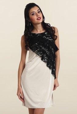 Avirate Off-White Lace Shift Dress