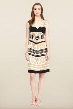 Avirate Beige Printed A-Line Dress