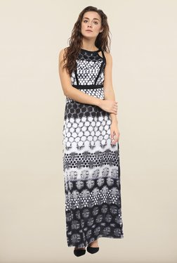 Avirate Black & White Printed Maxi Dress