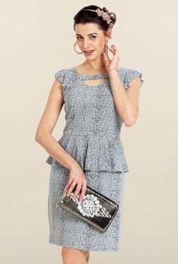 Avirate Grey Printed Peplum Dress