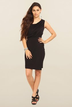Avirate Black Solid Sleeveless A-Line Dress