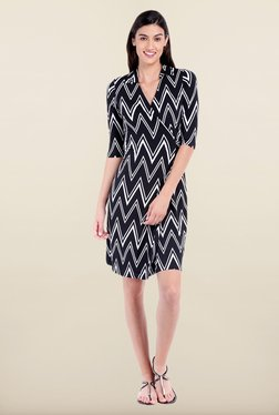 Avirate Black Aztec Print A-Line Dress