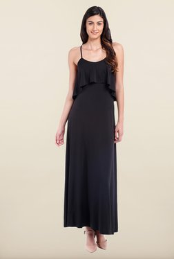 Avirate Black Solid Scoop Neck Maxi Dress