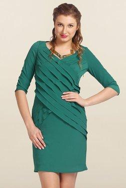Avirate Green Solid Bodycon Dress