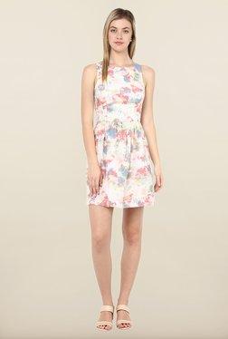 Avirate Cream Floral Print Skater Dress