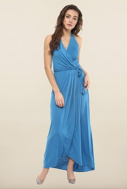 Avirate Blue Solid Halter Neck Casual Dress