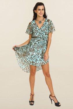 Avirate Blue Animal Print High-Low Dress