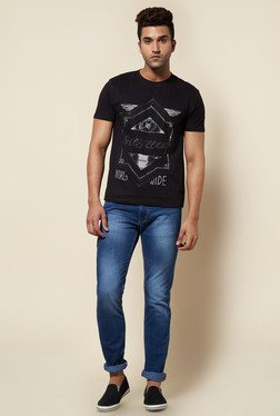 Zudio Black Ethnic Print T Shirt