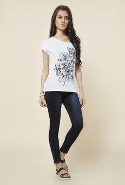 Zudio White Big Floral Printed T Shirt