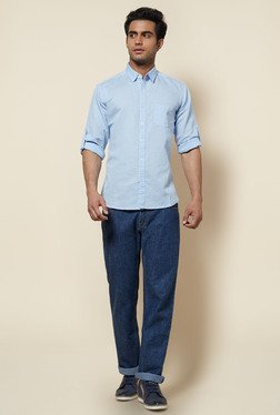 Zudio Sky Blue Solid Cotton Shirt