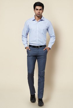 Zudio Blue Solid Slim Fit Trouser