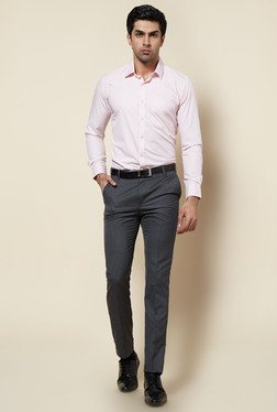 Zudio Dark Grey Solid Slim Fit Trouser