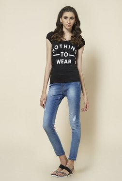 Zudio Black Round Neck Printed T Shirt