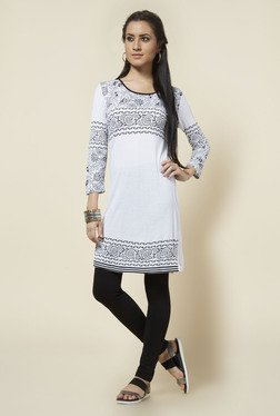 Zudio White Round Neck Printed Kurta