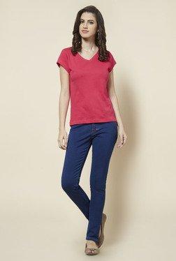 Zudio Pink Solid V Neck T Shirt