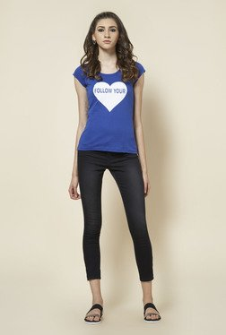 Zudio Blue Round Neck Printed T Shirt