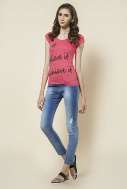 Zudio Pink Round Neck Printed T Shirt