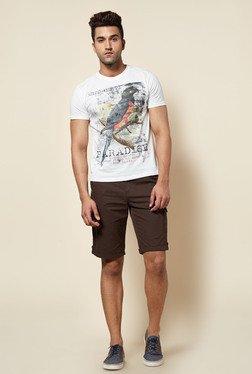 Zudio Off White Parrot Print T Shirt
