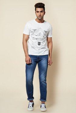 Zudio White Ethnic Print Crew Neck T Shirt