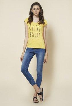 Zudio Yellow Printed T Shirt