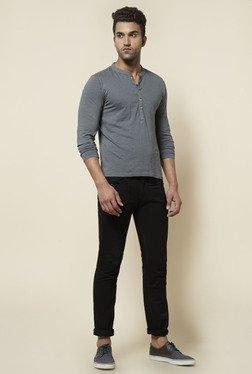 Zudio Grey Solid Henley Neck T Shirt