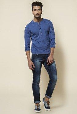 Zudio Blue Solid Henley Neck T Shirt