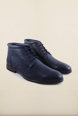 Arrow Navy Leather Chukka Ankle Boots