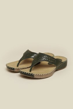 Metro Olive Laser Cut Slip-On Sandals