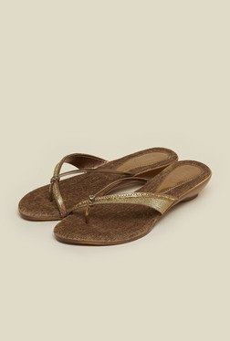 Metro Antique Gold Glitter Slip-On Sandals