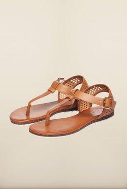 Pavers England Tan Flat Sandals