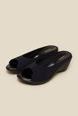 Metro Black Peep Toe Wedges - Mp000000000143557