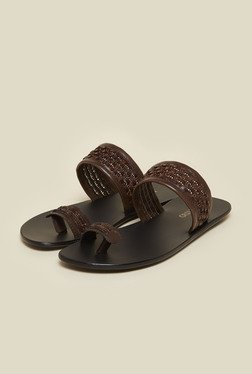 Metro Brown Leather Ethnic Sandals