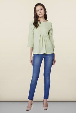 AND Sea Green Shelly Pleated Top