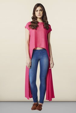 AND Pink Solid Regular Fit Top