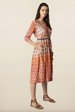 Global Desi Orange Floral Printed Dress